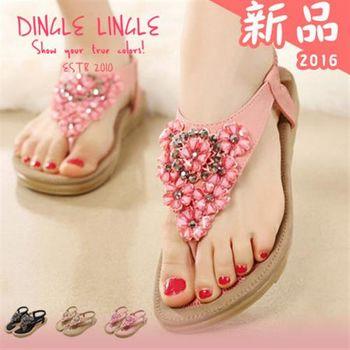 Dingle - 韓版浪漫風情水鑽花平底涼鞋 3色