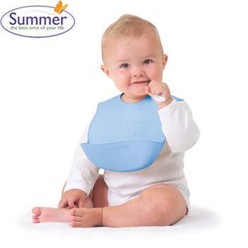 【美國Summer Infant】可攜式防水學習圍兜(粉藍)
