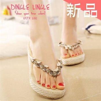 Dingle - 金屬花朵串楔型厚底涼鞋*2色*杏/黑