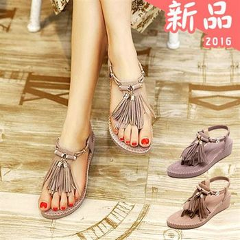 Dingle - 2016新款 韓版金屬流蘇坡跟涼鞋