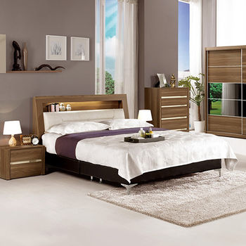 【H&D】維達6尺雙人加大床組-床頭箱+床底