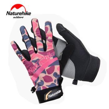【Naturehike】時尚戶外防水透氣超薄手套/觸控手套 (迷彩粉)