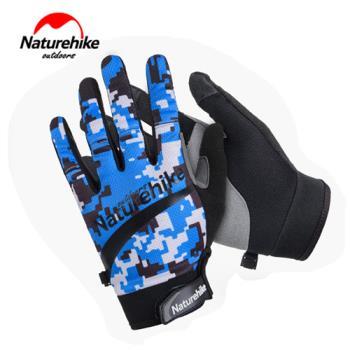 【Naturehike】時尚戶外防水透氣超薄手套/觸控手套 (迷彩藍)