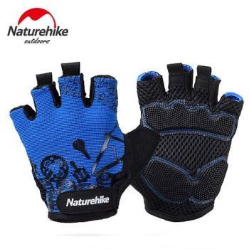 【Naturehike】抗震防滑耐磨半指騎行手套/運動手套 (炫藍)