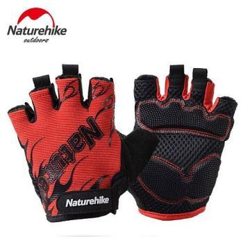 【Naturehike】抗震防滑耐磨半指騎行手套/運動手套 (炫紅)