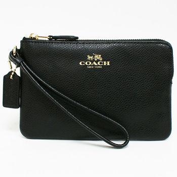 【COACH】經典燙金馬車LOGO全牛皮L型手拿包零錢包(黑)