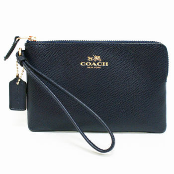 【COACH】經典燙金馬車LOGO全牛皮L型手拿包零錢包(深藍)