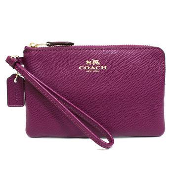 【COACH】經典燙金馬車LOGO全牛皮L型手拿包零錢包(紫)