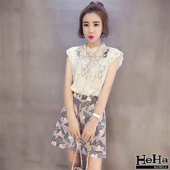 HeHa-鉤花立領鏤空蕾絲上衣 白色