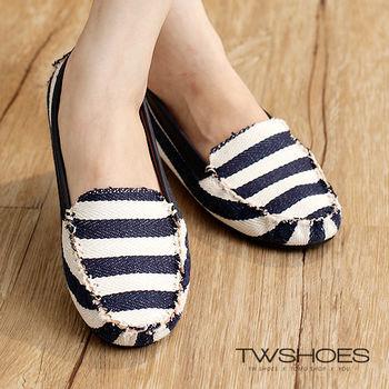 【TW Shoes】海軍風拼色條紋豆豆鞋(K134A2664)