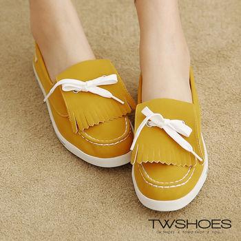 【TW Shoes】流蘇蝴蝶結車線平底莫卡辛豆豆鞋(K120A1448)
