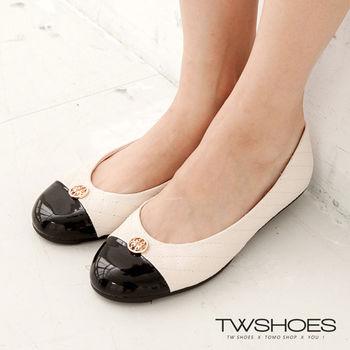 【TW Shoes】撞色拼接菱格紋平底豆豆鞋(K120A1622)