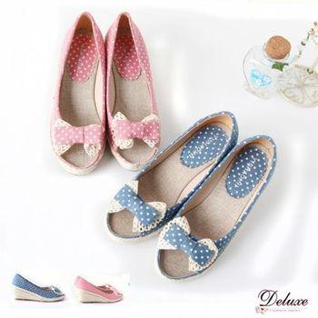 【Deluxe】點點花布蝴蝶結麻繩編織楔型跟魚口鞋(紅)