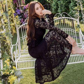 【KVOLL大尺碼】黑色蕾絲魚尾擺連身長裙