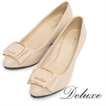 【Deluxe】全真皮優雅金屬蝴蝶結小尖頭楔型跟鞋(膚)