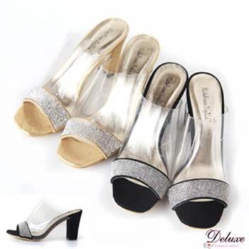 【Deluxe】甜美性感透明果凍+整排鑲鑽高跟鞋(金)