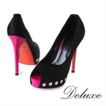 【Deluxe】馬毛真皮鑲鉚釘魚口高跟鞋(黑)