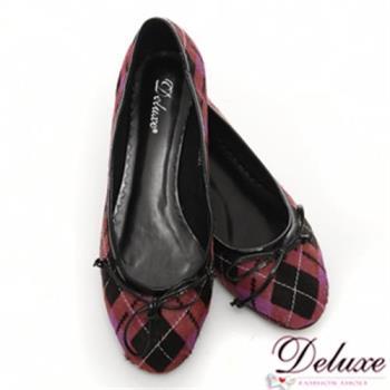 【Deluxe】真皮mix馬毛經典菱格紋平底娃娃鞋(紫紅)