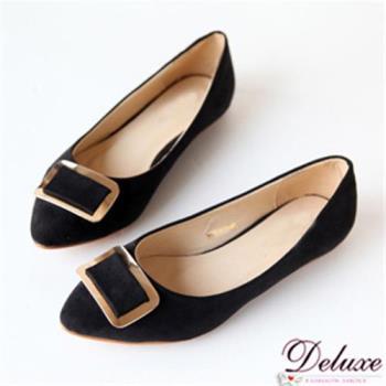 【Deluxe】百搭細絨素面飾扣平底包鞋(黑)