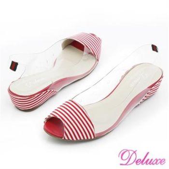 【Deluxe】條紋果凍後勾式魚口小坡跟涼鞋(紅色)