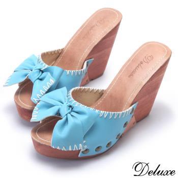 【Deluxe】精緻小羊皮蝴蝶紐結楔型木質跟鞋(藍)