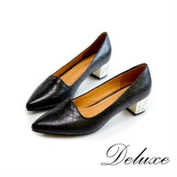 【Deluxe】千格紋水晶跟尖頭低跟鞋(黑)-