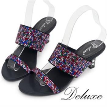【Deluxe】高質感幾何跟設計彩鑽涼跟鞋(黑)