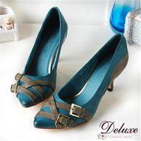 ~Deluxe~自然刷色真皮交叉飾扣細跟包鞋 ^#40 藍 ^#41 ^#45 820 ^