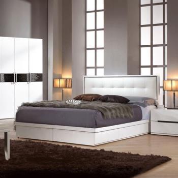 【H&D】波卡5尺白色雙人床組