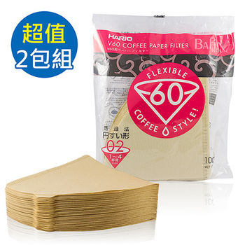 【HARIO】V60 日本製 1-4人無漂白02濾紙 200張(VCF-02-100M*2)