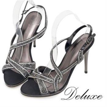 【Deluxe】優雅曲線真皮水鑽高跟涼鞋(黑)