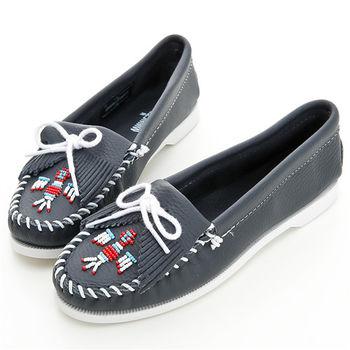 MINNETONKA 海軍藍色雷鳥牛皮莫卡辛女鞋-179