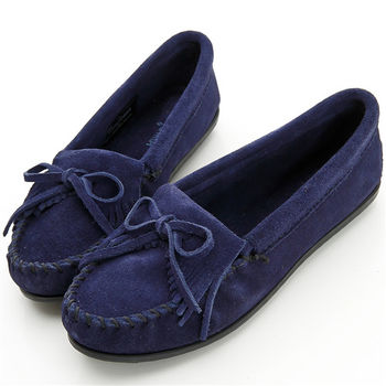 MINNETONKA 海軍藍麂皮素面莫卡辛 女鞋-409T