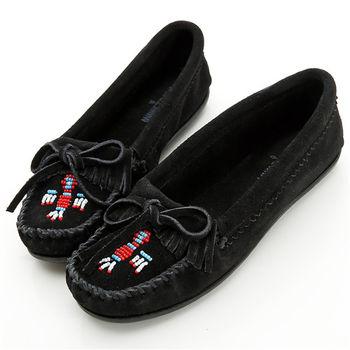 MINNETONKA 黑色麂皮串珠小雷鳥莫卡辛 女鞋-600