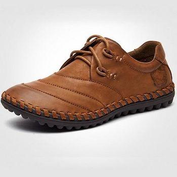 【HaoxinG】款D040541淺棕色冬男士潮流休閑鞋低幫鞋懶人鞋駕車鞋豆豆鞋男鞋子(JHS杰恆社)