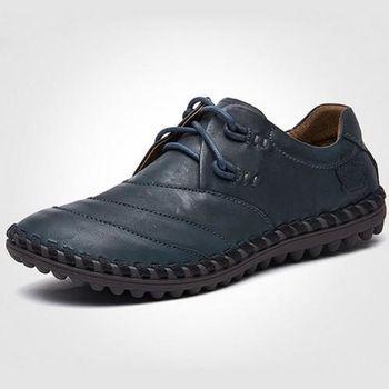 【HaoxinG】款D040541深藍色鱷魚紋休閑男鞋系帶真皮商務休閑男士手工縫制皮鞋(JHS杰恆社)