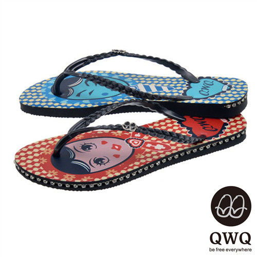 QWQ夾拖的創意(女) - 左右大不同 豆豆男女 側鑽鍊夾腳拖鞋 - 藍紅配