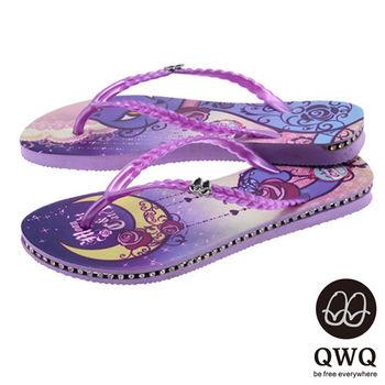 QWQ夾拖的創意(女) - 貓咪塗鴨 Moon NightCat 側鑽鍊夾腳拖鞋 - 渲紫