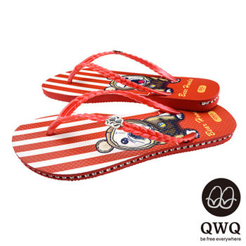 QWQ夾拖的創意(女) - 狗狗塗鴨   Bear Hoodie 側鑽鍊夾腳拖鞋 - 紅條