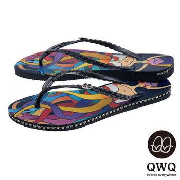 QWQ夾拖的創意(女) - 藝術塗鴨  小魔女 側鑽鍊夾腳拖鞋 - 彩黑