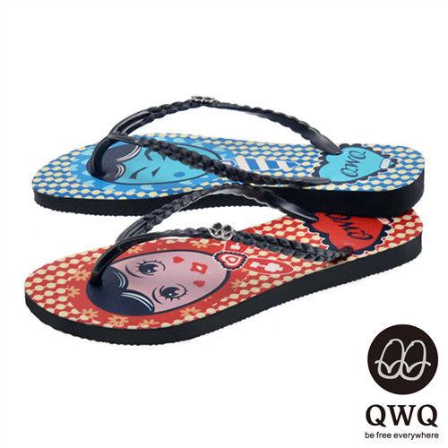 QWQ夾拖的創意(女) - 左右大不同 豆豆男女 夾腳拖鞋 - 藍紅配