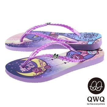 QWQ夾拖的創意(女) - 貓咪塗鴨 Moon NightCat 夾腳拖鞋 - 渲紫