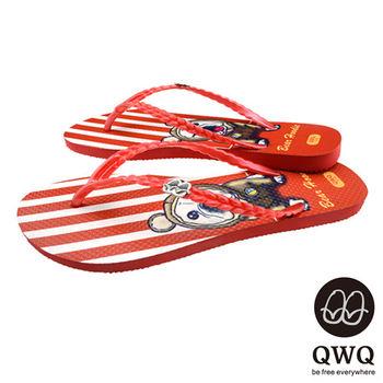QWQ夾拖的創意(女) - 狗狗塗鴨  Bear Hoodie 夾腳拖鞋 - 紅條