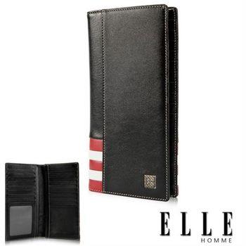 【ELLE】法式紅白長皮夾 義大利頭層皮、鈔票多層/證件多層夾/名片多層格設計-(黑 EL81915-02)