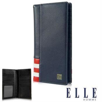 【ELLE】法式紅白長皮夾 義大利頭層皮、鈔票多層/證件多層夾/名片多層格設計-(藍 EL81915-08)