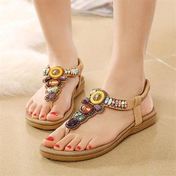 Dingle - 波西米亞民族華麗風時尚寶石串人字拖涼鞋