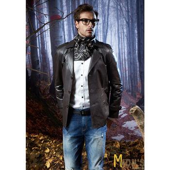 Mons時尚潮流紳士皮大衣