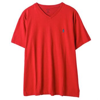Ralph Lauren 男士短袖V領T恤經典款 紅(M-L)