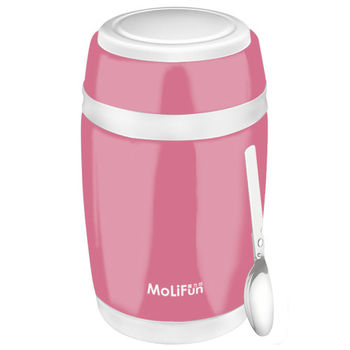 MoliFun魔力坊 不鏽鋼真空保鮮保溫燜燒食物罐550ml-蜜桃粉