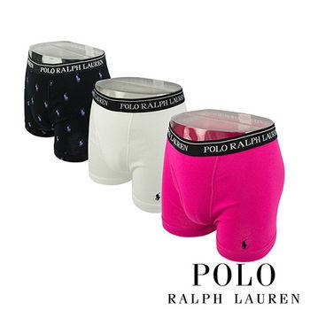 《Polo》Polo Ralph Lauren 經典純棉四角男內褲-3入組(黑桃白)